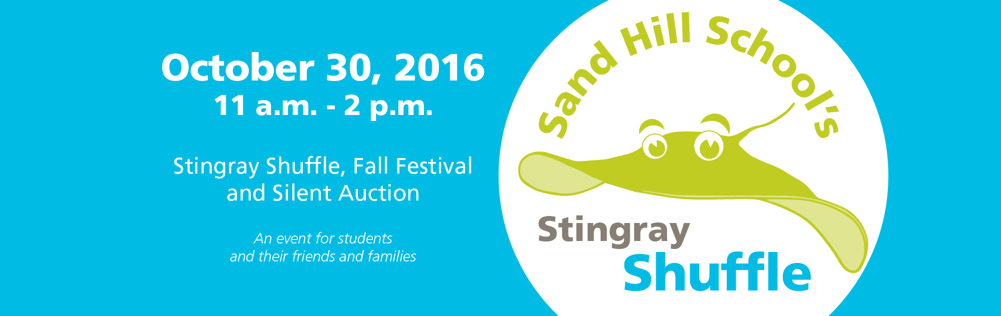 Sand Hill School Stingray Shuffle – October 30, 2016, 11 a.m. – 2 p.m., Stingray Shuffle, Fall Festival and Silent Auction